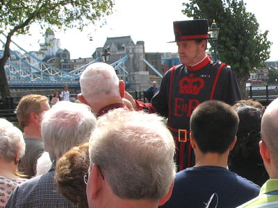 The Beefeater begins our guided tour.