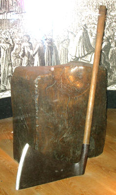 Chopping block and axe used to separate 'heads of state'