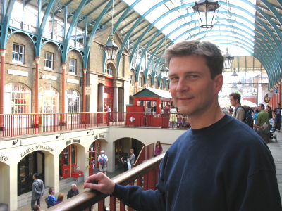 Shops and restaurants in Covent Garden.