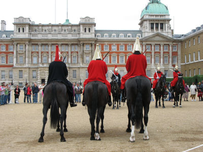 The Horseguards begin the changing of the guards