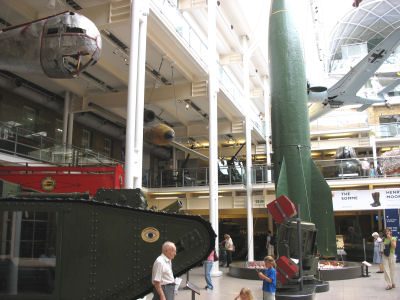 Inside Imperial War Museum with view of a tank and V2 rocket