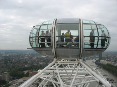View of one of the 32 capsules on the London Eye taken from our capsule