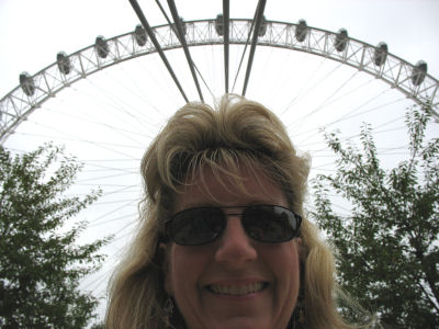 Susan with London Eye towering over her