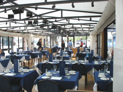 View of the dining area on the Thames River Lunch Cruise