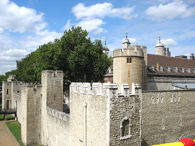 View of outer wall at the Tower of London. Taken from top of tour bus.